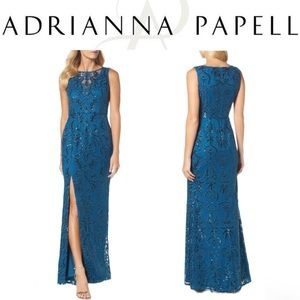 Adrianna Papell Sequin Scroll Gown